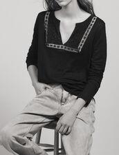 Linen T-Shirt With Grandad Neckline : All Selection color Black