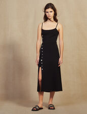 Knitted Midi Dress With Narrow Straps : All Selection color Black