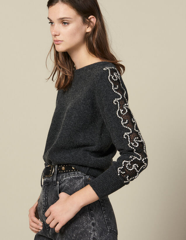 Sweater With Rhinestones And Boat Neck : Sweaters & Cardigans color Charcoal Grey