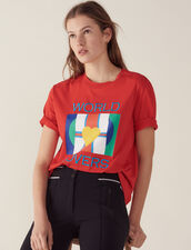 T-Shirt With Flags Logo And Embroidery : All Selection color Red