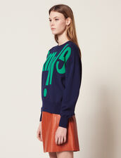 Sweater With Lettering On The Front : null color Navy Blue