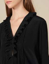 Silk top with pleat edged neckline : Tops & Shirts color Ecru