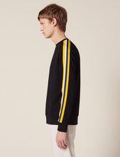 Cotton Sweatshirt With Braid Trims : Sweatshirts color Navy Blue