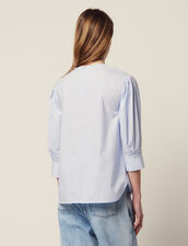 Long-Sleeved Poplin Top : All Selection color Blue