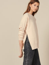 Bead-Embroidered Sweater With A Vent : Sweaters & Cardigans color Beige
