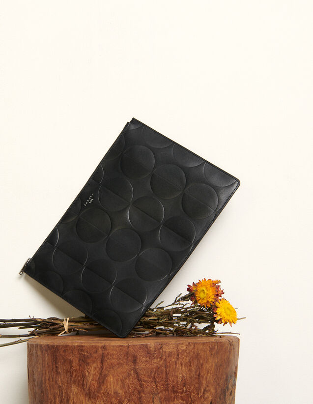 Embossed leather pouch : All Leather Goods color Black