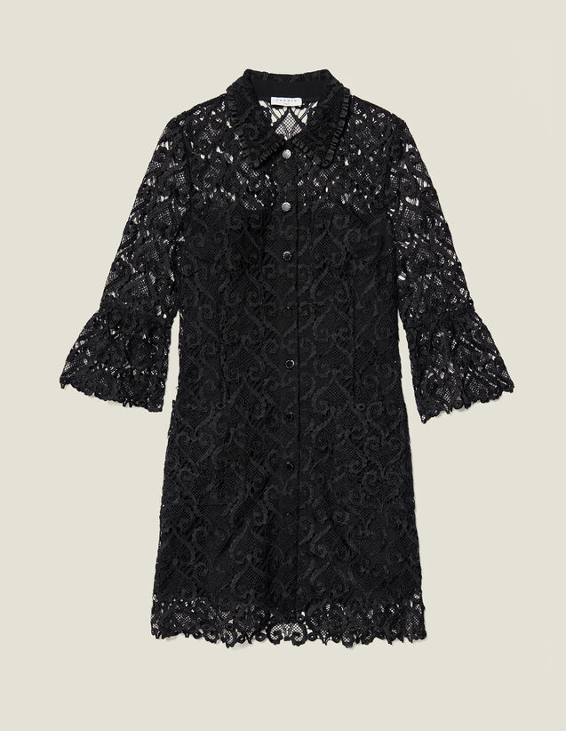 Guipure coat dress : Dresses color Black