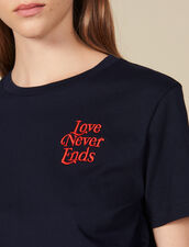Cotton T-Shirt With Lettering : T-shirts color Navy Blue