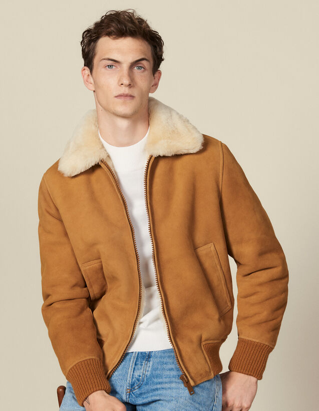 Shearling jacket : Leather jackets color Camel
