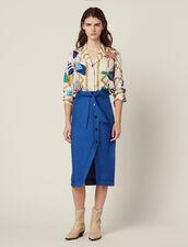Belted Knee-Length Skirt : null color Blue