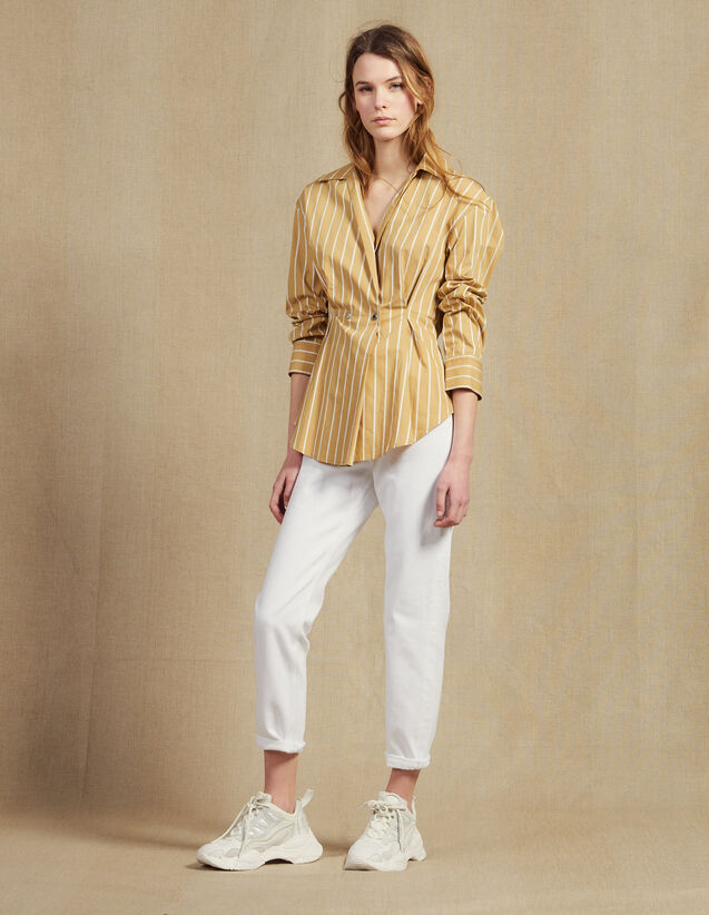 Long-Sleeved Striped Shirt : All Selection color Beige