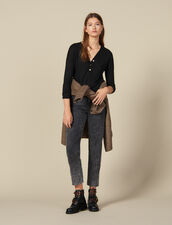 Long-Sleeved Linen T-Shirt : T-shirts color Black