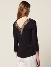 T-Shirt With Lace Neckline : null color Black