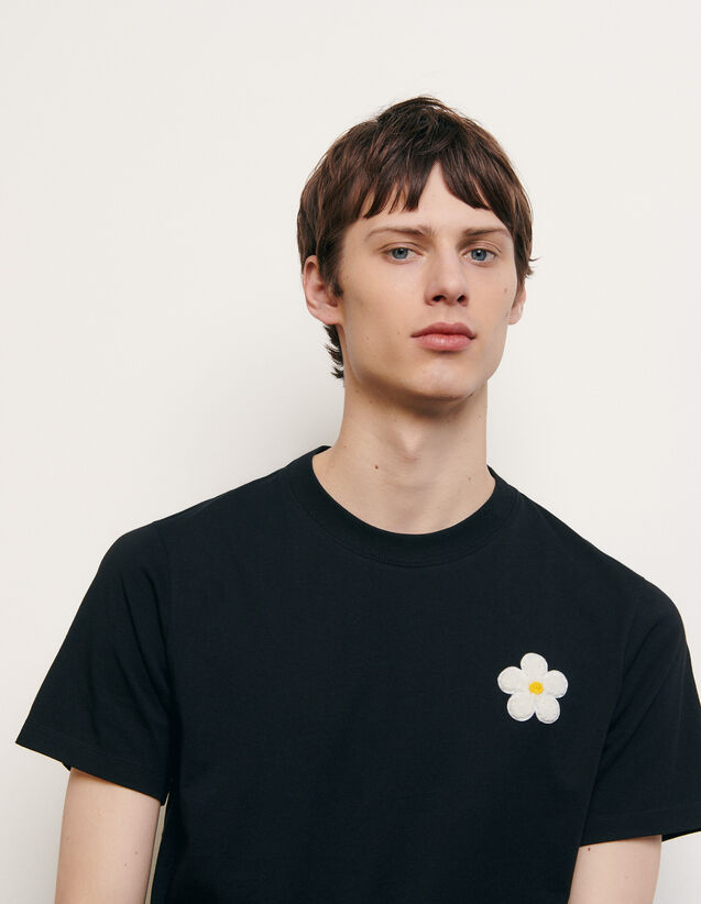 Cotton T-shirt with embroidered patch : New Summer Collection color Black