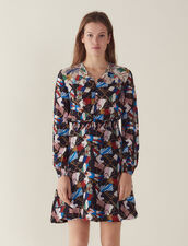 Flowing Dress With All-Over Print : null color Black