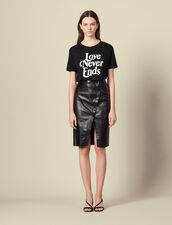 Leather wrapover skirt with slit : Skirts & Shorts color Black