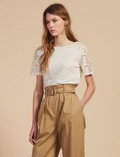 Linen T-Shirt With Lace Trim : All Selection color Ecru