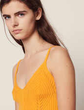Knit Crop Top With Narrow Straps : All Selection color Yellow