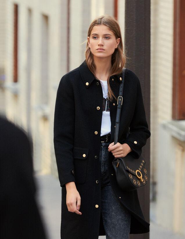 Wool coat with gold-tone press studs : Coats color Black