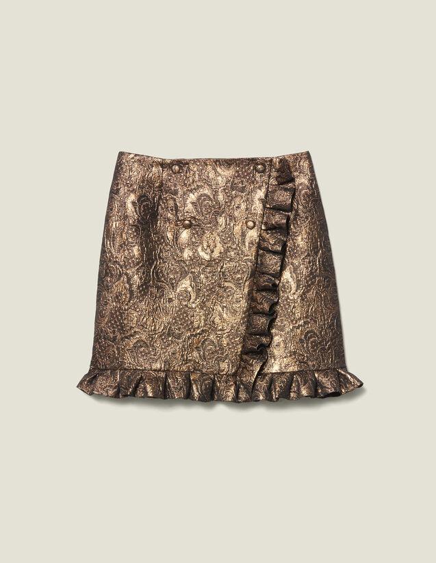Wrapover Effect Brocade Skirt : Copy of VP-FR-FSelection-Jupes&Shorts color Gold