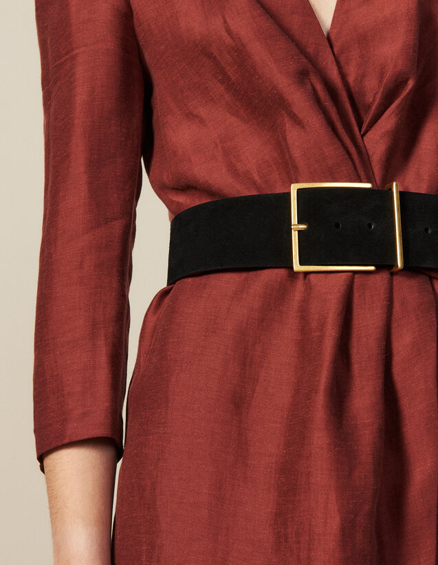 Wide Split Leather Belt : Best of the season color Black