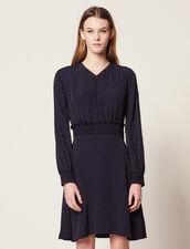 Jacquard Short Dress : null color Navy Blue