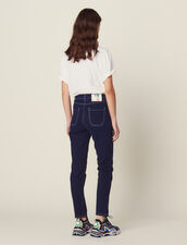 Jeans With Contrasting Stitching : Jeans color Navy Blue