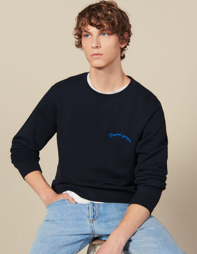 Sweatshirt with lettering : Sweatshirts color Navy Blue