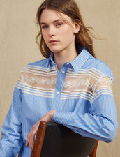 Striped Shirt With Lace Inset : All Selection color Blue