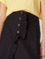 Short Wraparound Skirt With Ruffle : All Selection color Black
