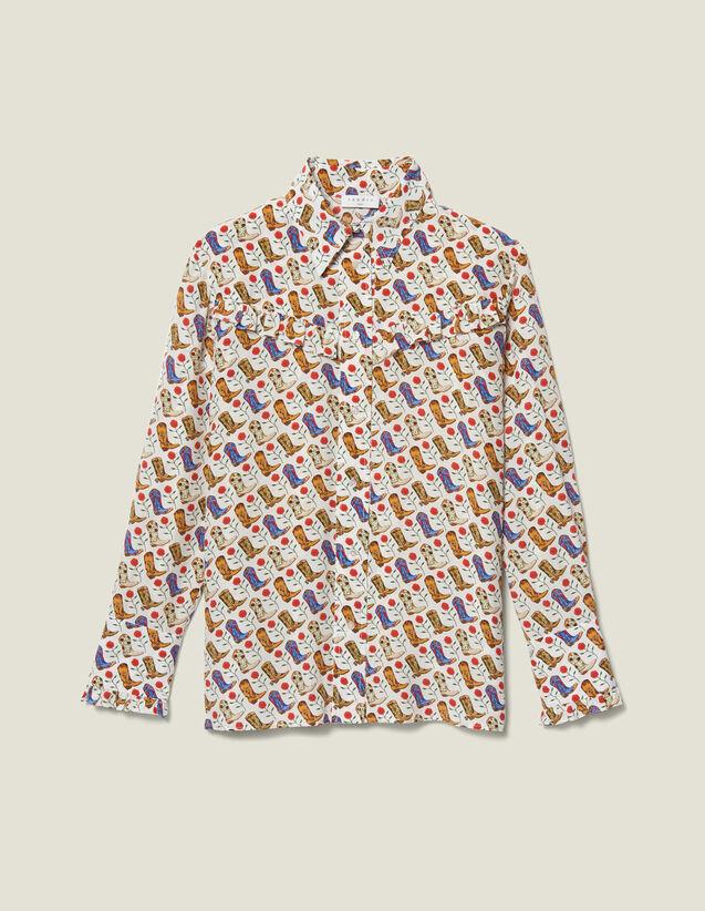 Printed Ruffled Shirt : FBlackFriday-FR-FSelection-30 color Ecru