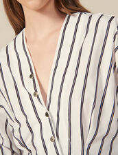 Striped Poplin Fitted Shirt : LastChance-ES-F50 color white