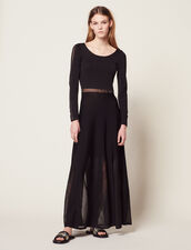 Long Knitted Dress With Open Back : Dresses color Black
