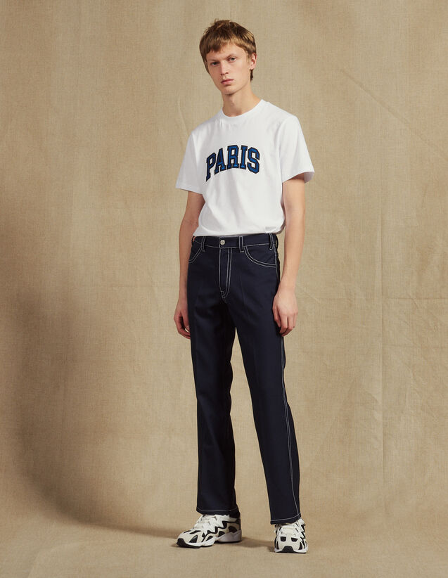 Trousers With Contrasting Topstitching : Pants & Shorts color Navy Blue