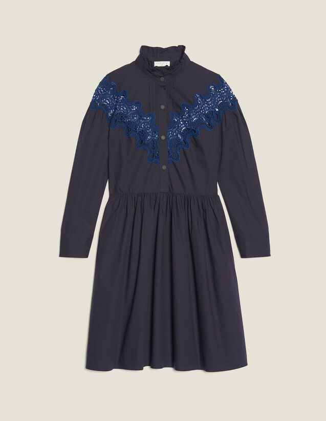 Short Dress With Lace Inset : null color Navy Blue