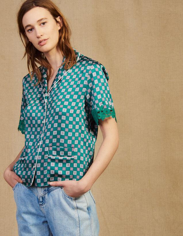 Printed Pyjama Shirt : Printed shirt color Green