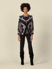 Floaty printed top with pleats : Tops & Shirts color Black