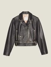Short Biker Jacket : null color Black