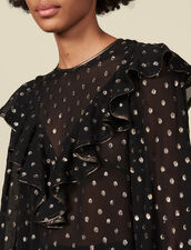 Lurex patterned top : Tops & Shirts color Black