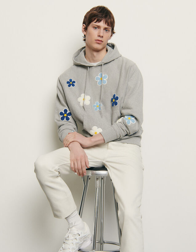 Hoodie with embroidered patch : New Summer Collection color Mocked Grey
