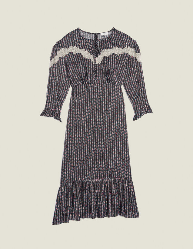 Long Bohemian Print Dress : null color Black