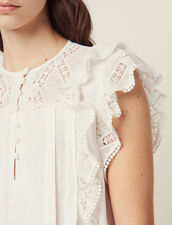 Jacquard Top With Ruffles : Tops & Shirts color Ecru