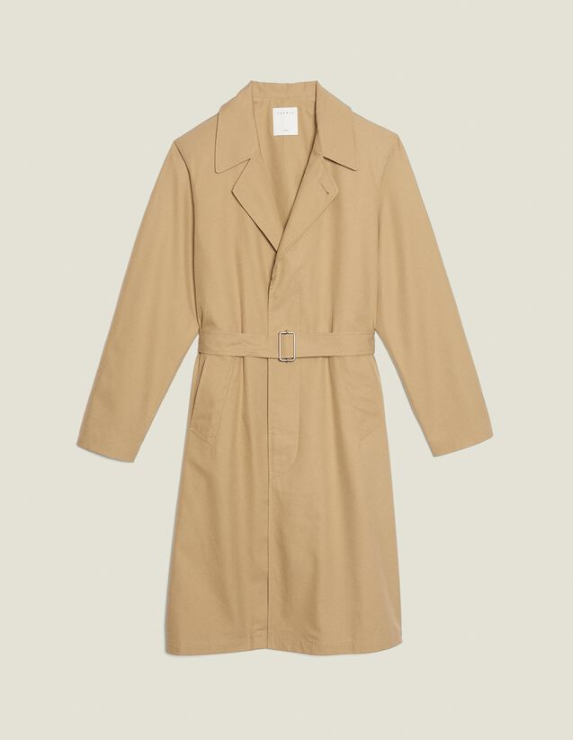 Long Cotton Trench Coat : All Selection color Beige