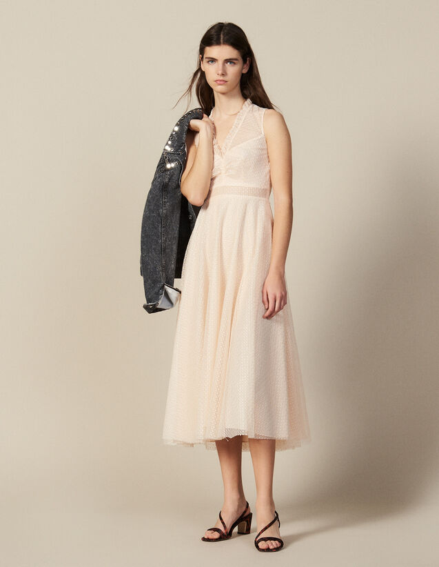 Long Embroidered Tulle Dress : New In color Rust