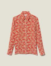 Printed Silk Shirt : Tops & Shirts color Red