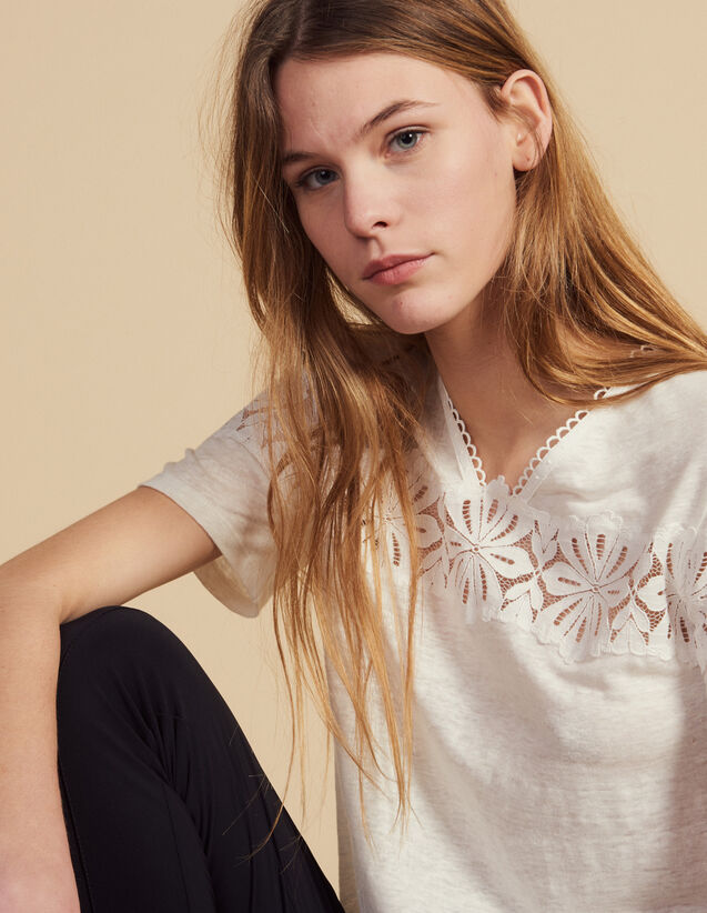Linen T-Shirt With Lace : T-shirts color Ecru