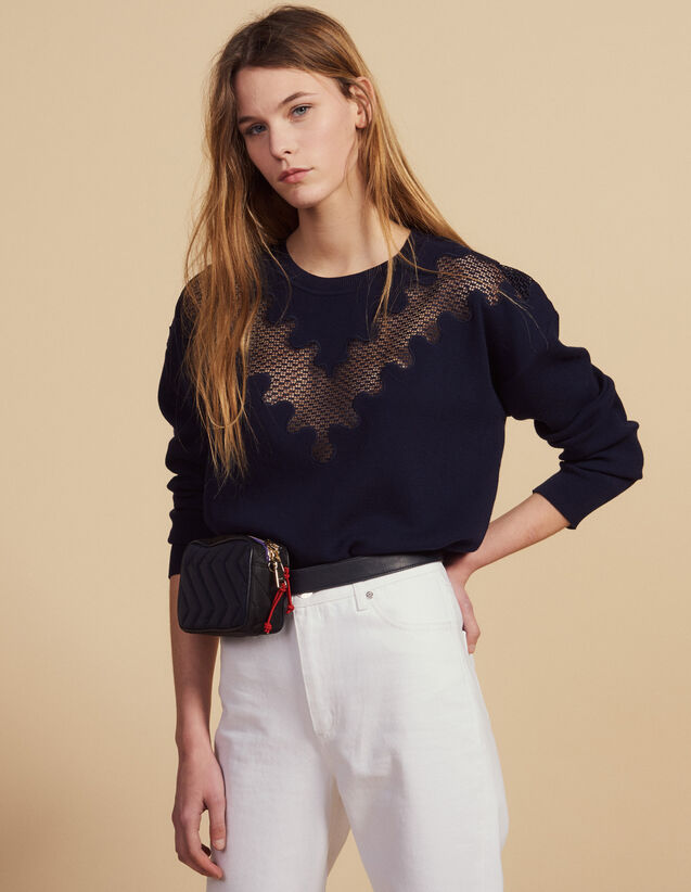 Sweater With Lace Inset : Sweaters & Cardigans color Navy Blue