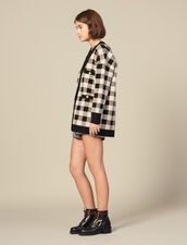 Loose-fitting checked cardi-coat : Sweaters & Cardigans color Beige