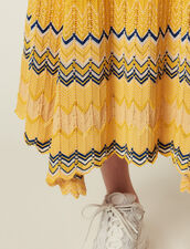Long Knit Skirt With Zigzag Print : null color Yellow