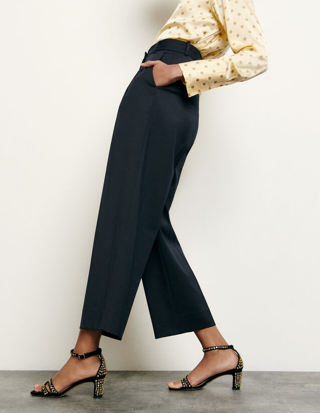 Tailored wool trousers : Pants color Navy Blue